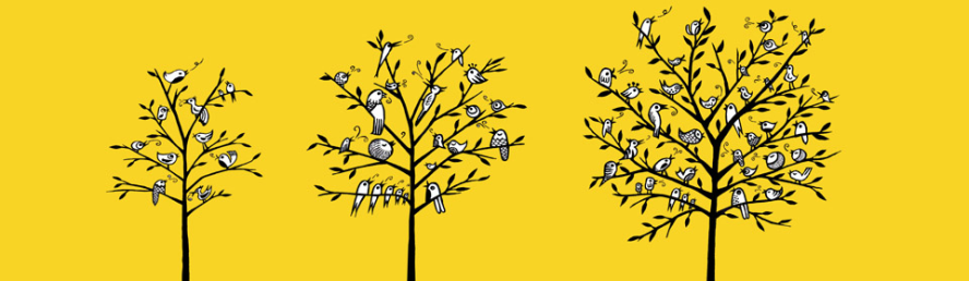 growing singing log (3 trees) on yellos background
