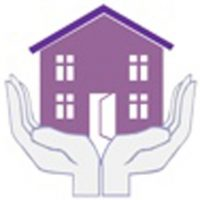 Manna house logo - two hands holding a house